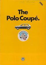 Volkswagen Polo Coupe 1985-86 UK Market Sales Brochure 1050 Fox 1.3 S