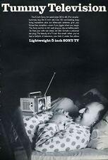 "1965 Sony  Portable 5 inch TV  ""Tummy Television""  PRINT AD"