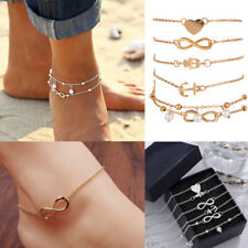 5Pcs Gold Silver Pearl Ankle Bracelet Women Anklet Chain Foot Summer Beach Jewel