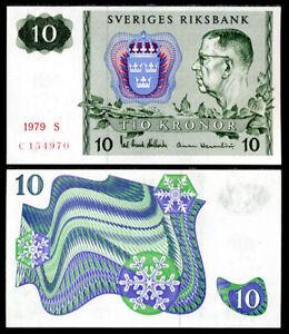 SWEDEN 10 KORNOR 1979 P 52 UNC
