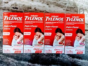TYLENOL Infants' Oral Suspension Cherry Dye Free Flavor 1 oz (Pack of 4)