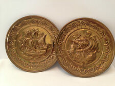Embossed Brass Wall Plaque Plate x2 25cm Diameter Depicting Old Ships Galleons