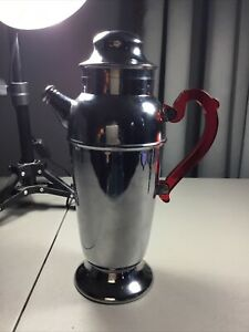 "Art Deco Red Bakelite Handle Coffee Carafe Chromium Pot 12"""