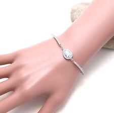 Elegant Diamante Teardrop Cubic Zirconia CZ Wedding Bride Bracelet Birthday Gift