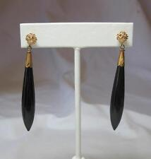 Etruscan Revival Obsidian Torpedo Earrings 10K Gold Antique Victorian Art Deco