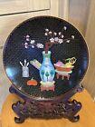 Vintage Chinese Cloisonne Enamel Metal Plate Flower Vase Fruit
