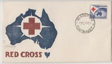 Stamp 1954 Australia 3&1/2d Red Cross Jack Peake artistic cachet FDC, GLADSTONE