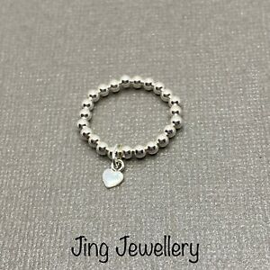 Sterling Silver Beaded Stretch Stacking Ring Tiny Heart Charm Handmade All Sizes