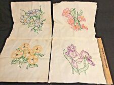4 Vintage Embroidered Flower Linen Squares ~ Unfinished Edges