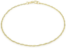"""9ct Yellow Gold 20 Twist Curb Chain Bracelet 18cm/7"""" Thin Womens with Packaging"""