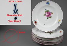 Meissen 6x Teller Speiseteller Blume Marcolini Zeit um 1774-1814 Top Zustand