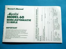 MARLIN MODEL 60 SEMI-AUTO 22 CALIBER RIFLE OWNER'S MANUAL dated 9/86MARLIN MODEL