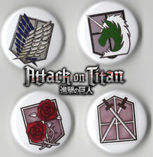"""ATTACK ON TITANS BUTTON SET (4 - 1""""INCH PIN BACK BUTTONS) 4 CREST ANIME"""