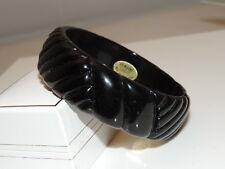 Vintage Carved Black Lucite Wide Bangle Bracelet Made in Hong Kong EC 5a 22