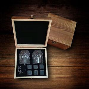 6 Stück Whiskey Steine Zubehör Set+ 2 Whiskygläser +1 Holzbox Gravur