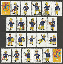 AUSTRALIA 2017 FIREMAN SAM COMPLETE SET of 20 LABELS with 2 Australia Stamps MNH