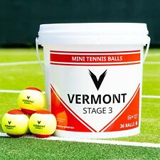 Vermont Mini Rouge Balles de tennis | Stage 3 | 36 Ball capacité seau | ITF Approuvé