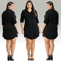 Plus Size Womens Black Long Sleeve Bodycon Casual Shirt Dress Party Dress CUB