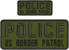 POLICE US BORDER PATROL EMB PATCH 4X10 AND 2X5 HOOK ON BACK OD/BLK