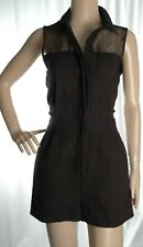 TOPSHOP black textured button up sleeveless playsuit size 10 UK