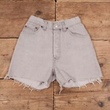 "Womens Vintage Levis Red Tab 501 Grey High Waisted Denim Shorts USA 24"" R13350"