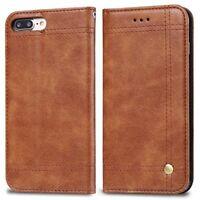 Premium Apple iPhone 7 Plus / 8 Plus Flip Leather Case & Glass Screen Protectors