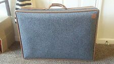 Vtg Hartmann Tweed Leather Belting Large Suitcase Structured Brenner Luggage