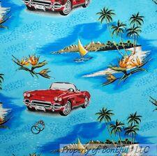 BonEful FABRIC FQ Cotton Quilt Flannel Blue Boy L Scenic Red Car Beach Tree Boat