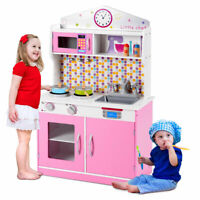 Kids Wooden Pretend Cooking Playset Kitchen Toys Cookware Play Set Toddler Gift