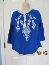NWT Rafaella Sportswear Women's 3/4 Sleeve Blouse Blue Size Small MSRP $58 NWT