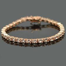 Natural Morganite Gem 14K Rose Gold Plating 925 Sterling Silver Tennis Bracelet
