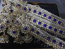 Indian / Pakistani Jewellery Blue Crystals Choker & Jhumki Set Gold Plated