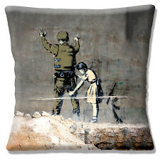 "Banksy Graffiti Artist 'Girl Frisking Soldier' Multi 16"" Pillow Cushion Cover"