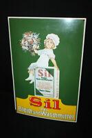 Sil El Pálido = Y Detergente Cartel Esmaltado 39,5 X 60CM