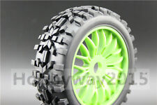 4pcs 1/8 Buggy Tires(wilderness) Tyre 15% Reinforced Nylon Y Spoke Green Wheel