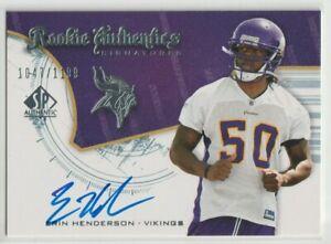 Erin Henderson Minnesota Vikings 2008 SP Authentic Rookies #225 AUTO RC /1199