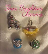 4 pc Set Brighton Charm Beads Roller Skate~Banana Split~Green Heart~Blue Heart