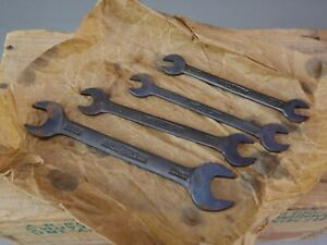 VINTAGE NOS SNAIL BRAND FACTORY JAGUAR TOOL KIT WRENCHES SET OF FOUR OPEN ENDED