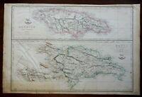 Caribbean Jamaica Hispaniola Haiti Dominican Republic 1863 Lowry engraved map