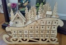 Christmas Winter Wood Die-Cut LED Nordic Sleigh Advent Calendar Forest Cabin XL