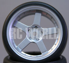 RC Car 1/10 DRIFT WHEELS TIRES Package 3MM Offset SILVER 5 Star Rims -Set Of 4