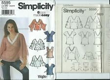 S 5595 sewing pattern Pullover TOPS Trendy BLOUSE SHIRT sew sizes 4,6,8,10 UNCUT