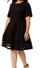 Calvin Klein Women's Dress Black Size 16W Plus A-Line Fit-and-Flare $134 #026