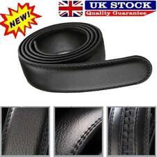 Men Luxury Black Leather Automatic Ribbon Waist Strap Belt Without Buckle UK