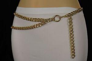 Women Fashion Belt Hip High Waist Gold Metal Thick Chains Links 2 Strands S M L