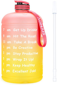 UGYM Workout 1 Gallon BPA Free Sport Water Bottle w/ Time Indicator 128/74/36oz