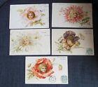 FANTAISIE ENFANTS FLEURS ensemble 5 cartes postales illustrées