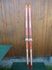 """Vintage Wooden 79"""" Long Skis with Original Finish and Signed Skilom + Bindings"""