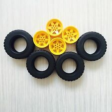 New Lego Technic Large Yellow Wheels Black Tyres Tires - Set of 4 - 94.3x38mm
