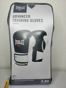 Everlast Advanced Training Boxing Workout Gloves 16 Ounces (Black/White)